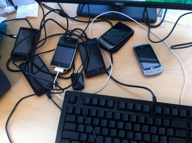 The untamed desk of a mobile developer